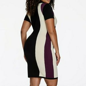 Plum, black and white Hourglass sweater dress